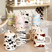 Kawaii Cartoon Novelty Animal Cows Lines Mug Cute Business Gift Summer Cool Drink Milk Coffe Lemon Juice water