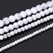 "Round White Howlite Beads Natural Stone Beads DIY Loose Beads For Jewelry Making For Bracelet Making Strand 15"" Free Shipping"