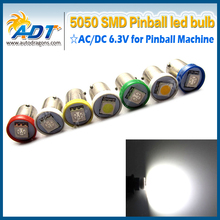 100pcs  Ba9s #44 #47 AC 6.3V 5050smd pinball led bulbs for pinball game machine parts Non flicking anti ghost