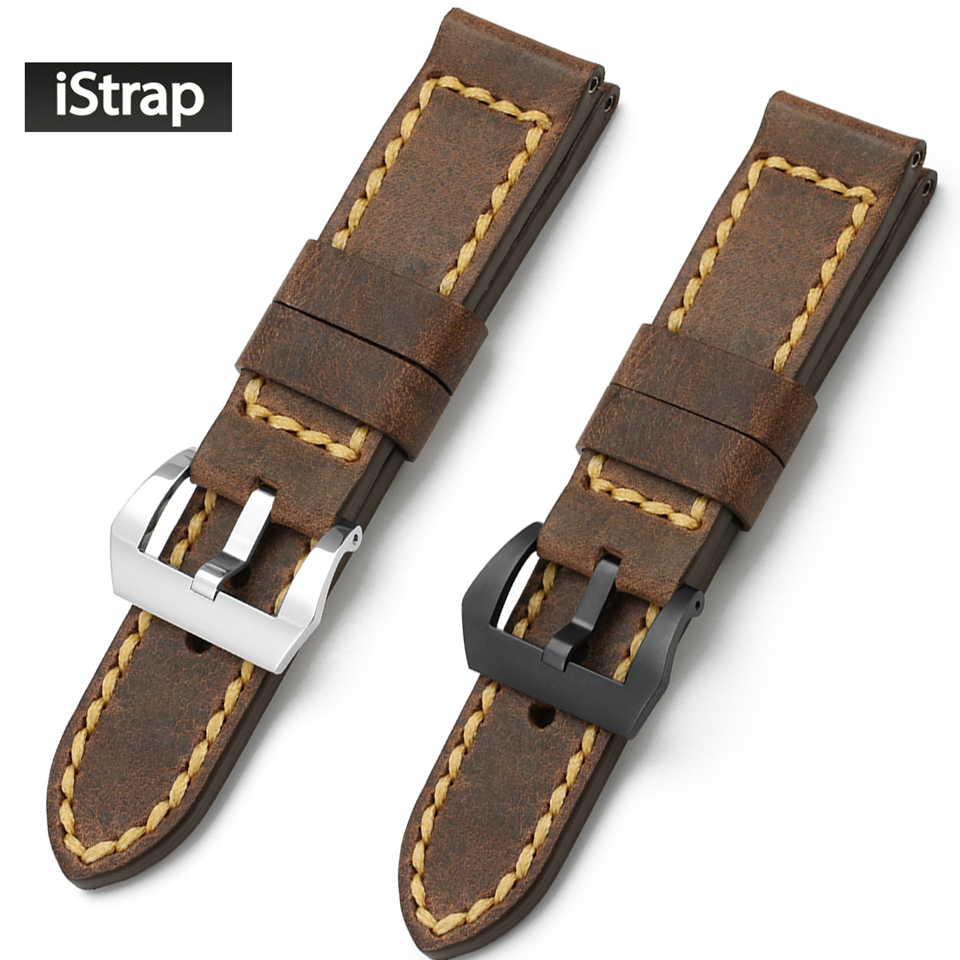 iStrap Watchband Brown Assolutamente Replacement Watch Band 24mm Vintage Leather Watch Strap For Panerai Watchband<br>