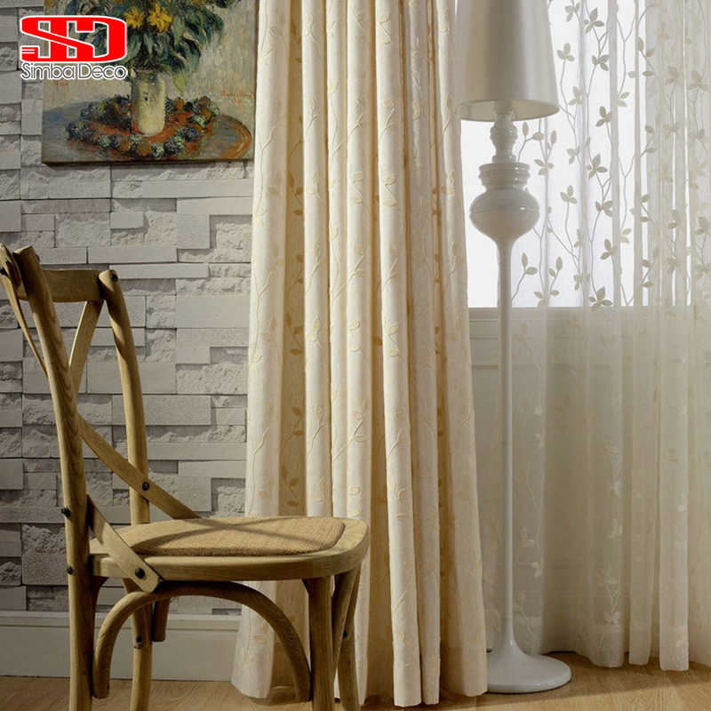 Linen Blackout Curtains For Living Room Blinds Drapes For Bedroom Panels Embroidered Leaf Cotton Window Kitchen Shading Chinese