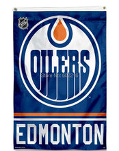 Edmonton Oilers Team and Logo Large Outdoor Flag 3FTX 5FT