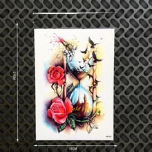 Women Sexy Products Sandbox Fake Flash Temporary Tattoo Roses Glass Design 21x15CM Large Body Arm Tatoo Men Chest Shoulder Decal