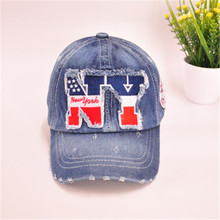 Hotsale NY Embroidered Denim Baseball Cap Children Sports Caps Pupils Hats Boy Girls Casual Baseball Hats Peaked cap