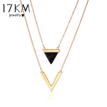 17KM V Letter Shape Triangle Stone Double Layer Geometric Pendant Necklaces Bijoux Statement Necklace Party Jewelry For Women(China)
