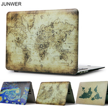 JUNWER Color Print Map Case For Apple Macbook Air Pro Retina 11 12 13 15 Laptop Case Cover for Mac book Pro 13 15 with Touch Bar