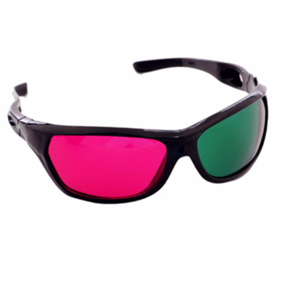 Red Green Plastic 3D Glasses