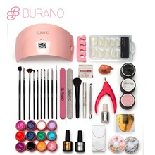 Burano Nail tools UV \LED GEL Lamp & 12 Color UV Gel Practice Fingers Cutter Nail Art Tool Kit Set manicure set 001(China)
