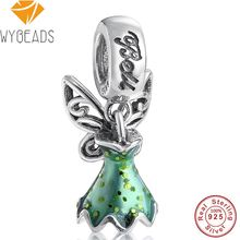 WYBEADS 925 Sterling Silver Tinker Bell's Dress Pendant Green Enamel Charms European Bead Fit Bracelets DIY Accessories Jewelry(China)