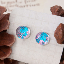 DoreenBeads Women Fashion Earrings Resin Mermaid Fish /Dragon Scale Studs Earrings Blue Round Transparent Faceted 18x18mm 1 Pair