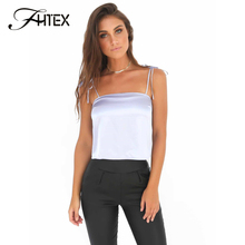 FHTEX Elegant Silk Lace Up Backless Tank Camisoles Women Casual Loose Tank Tops Vest 2017 Nightclub Party Camisoles(China)