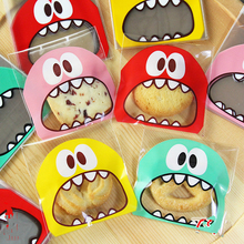 100pcs 10x10+3cm Cute Monster Bakery Cookie Candy Sweet Biscuit Gift Soap Favor Cello OPP Plastic Bag Birthday Party