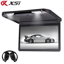 XST 13.3 Inch Car Ceiling Flip Down Roof Mount Monitor with Full 1920x1080 Screen MP5 Player HDMI USB SD IR FM Transmitter(China)