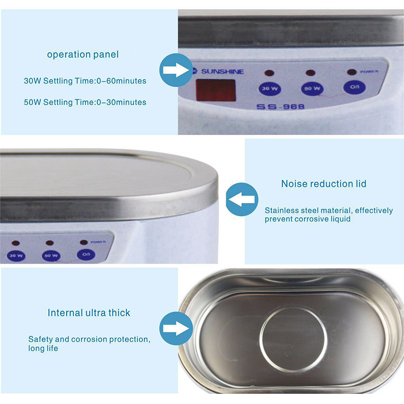 600 ml Ultrasonic Cleaner Jewelry Glasses Circuit Board Cleaning Machine Intelligent Control ultrasonic cleaning tools<br>