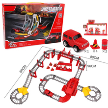 Electric Racing Rail Car 3 Types Children's Toys DIY Assemb Slots Off-road Vehicle Police Track Toy Car Kids Education Toy(China)