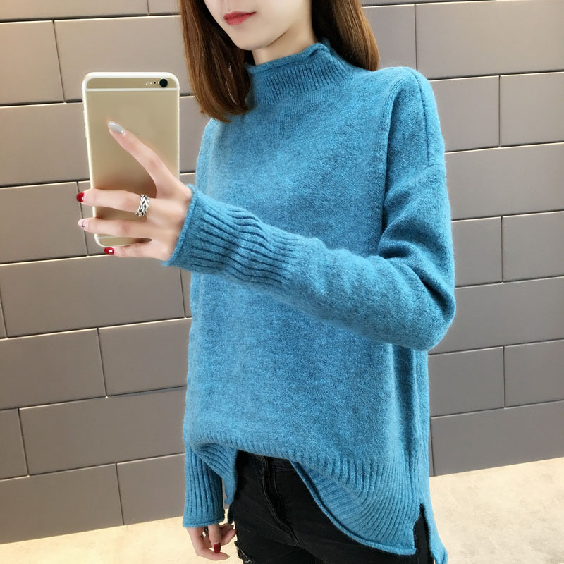 Women sweater 2019 autumn and winter trend sweet female sweater candy colors Korean style teenager girl knitted pullover A25