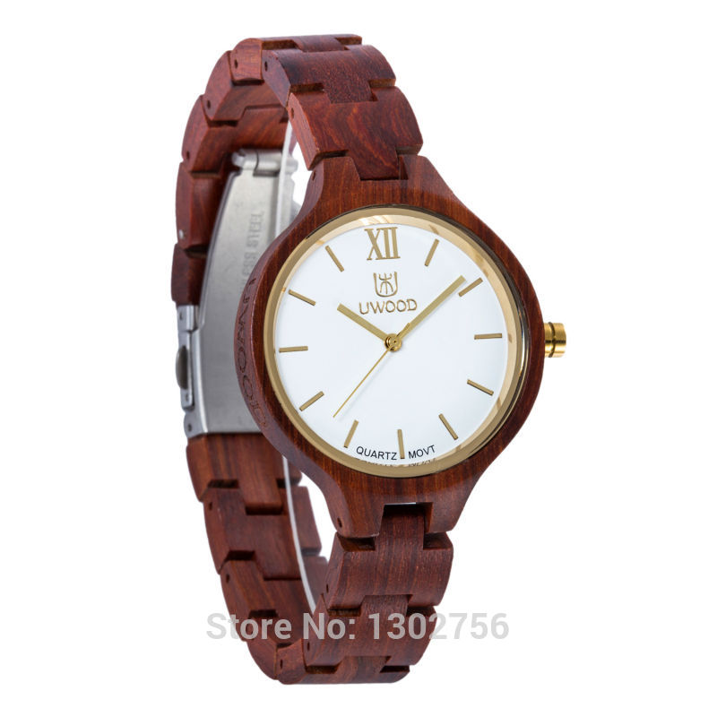 Uwood 2016 Fashion Red Sandal Wooden Quartz Women Wristwatches High Quality Quartz Movement Wood Watch Relojes<br>
