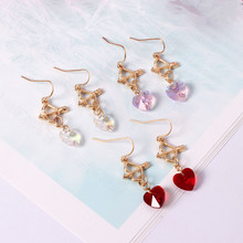 Dream crystal girl red heart Cupid's arrow Women's earrings free shipping Europe United States foreign trade jewelry wholesale