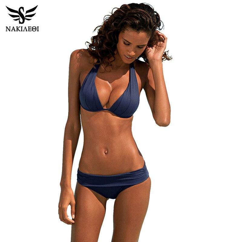 NAKIAEOI 2017 New Sexy Bikinis Women Swimsuit Push Up Swimwear Plus Size Brazilian Bikini Set Halter Retro Beach Bathing Suits<br><br>Aliexpress