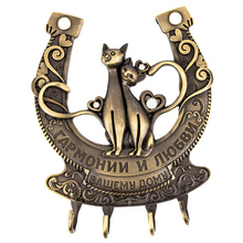 Clothes Key hook for keys Door Wall Hook Hanger handbag Keys Bathroom Kitchen retro Holder.Russian wedding decor of Cat design(China)