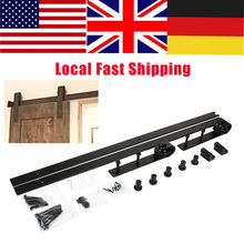 1 Set Barn Sliding Wood Door Hardware Set Steel Slide Rail Antique Track System Black High Quality(China)