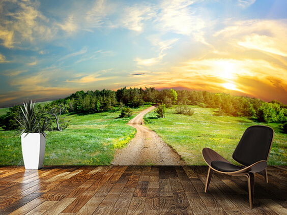 Custom country decorative wallpaper,Country Track,3D natural landscape wallpaper for living room bedroom kitchen background wall<br>