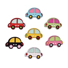 New 25x20mm 50Pcs/lot Colorful Wood Sewing Painting Decoration Buttons Scrapbooking Car Pattern Mixed At Random 2 Holes For Kids