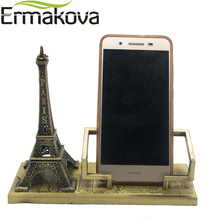 ERMAKOVA Vintage Metal Paris Eiffel Tower Model Tower Figurine Mobile Phone Holder Phone Stand Home Office Decor Gift(China)