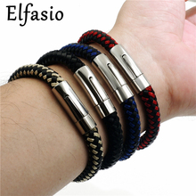8MM Men's Genuine Leather & Nylon Braided Stainless Steel Magnetic Lock Bracelet Fashion Jewelry(China)