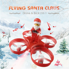 JJRC H67 Mini RC Drone Flying Santa Claus Airplanes 2.4G 4CH Colorful Headless Mode Toy Brick with Christmas Songs Music for Kid(China)