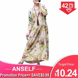 Платье-макси из хлопка и льна, с цветочным принтом, большого размера