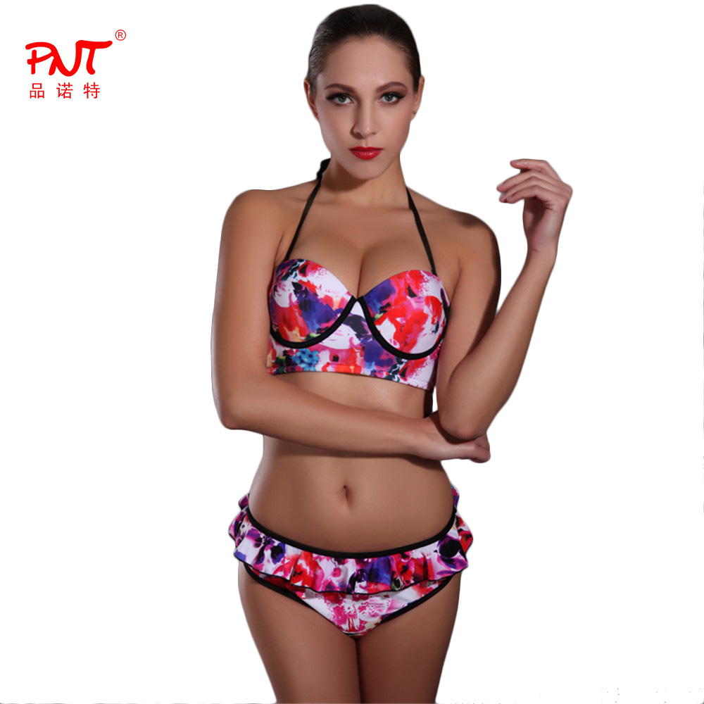 PNT184 Sexy Bikini 2017 Brazilian Biquini Skirt falbala Design Womens Swimsuits Summer Beach Bathing Suit red Bandeau Swimwear<br><br>Aliexpress