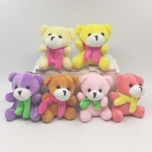1Pcs 7CM Cute Plush Sitting Teddy Bear With Scarf Urso De Pelucia Oso Dolls cellphone bag key chain 6color