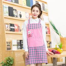 New Fashion Cartoon Animal Home Cotton Cloth Aprons Embroidery Korean Shoulder Strap Apron Kitchen Apron With Pocket Avental