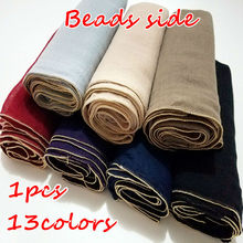 High quality new pure color golden bead side bandana silk scarf Muslim hijab scarf women 1pcs Free Shipping independence packing