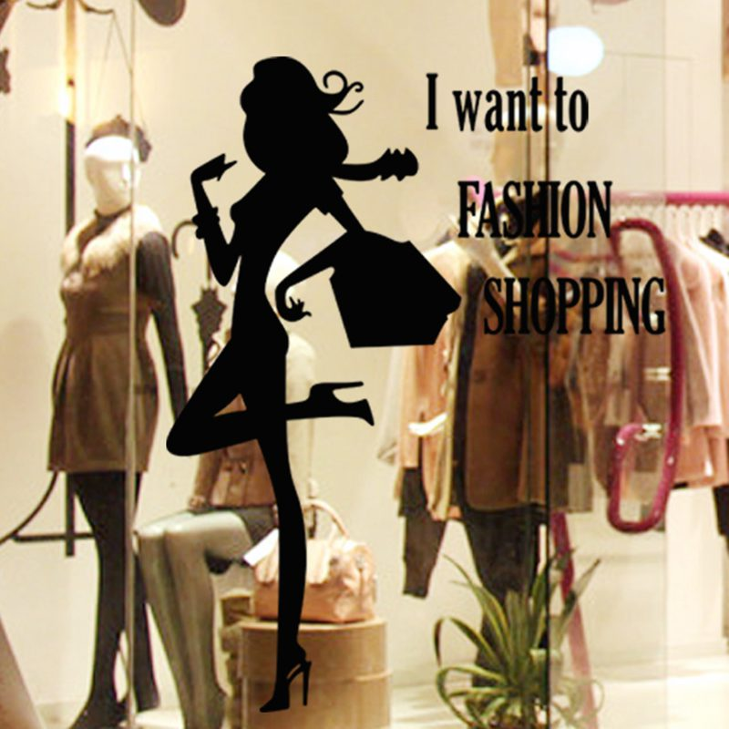 DCTAL Clothing Store Decal Sexy Lady Girls Glass Wall Sticker Decoration Clothing Store Decal Cloakroom Showcase Decor