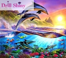 DIY 5D Diamond Embroidery Painting Full Square Mosaic Rhinestone Painting Animal Dolphin 3D Cross Stitch Embroidery Home Decor