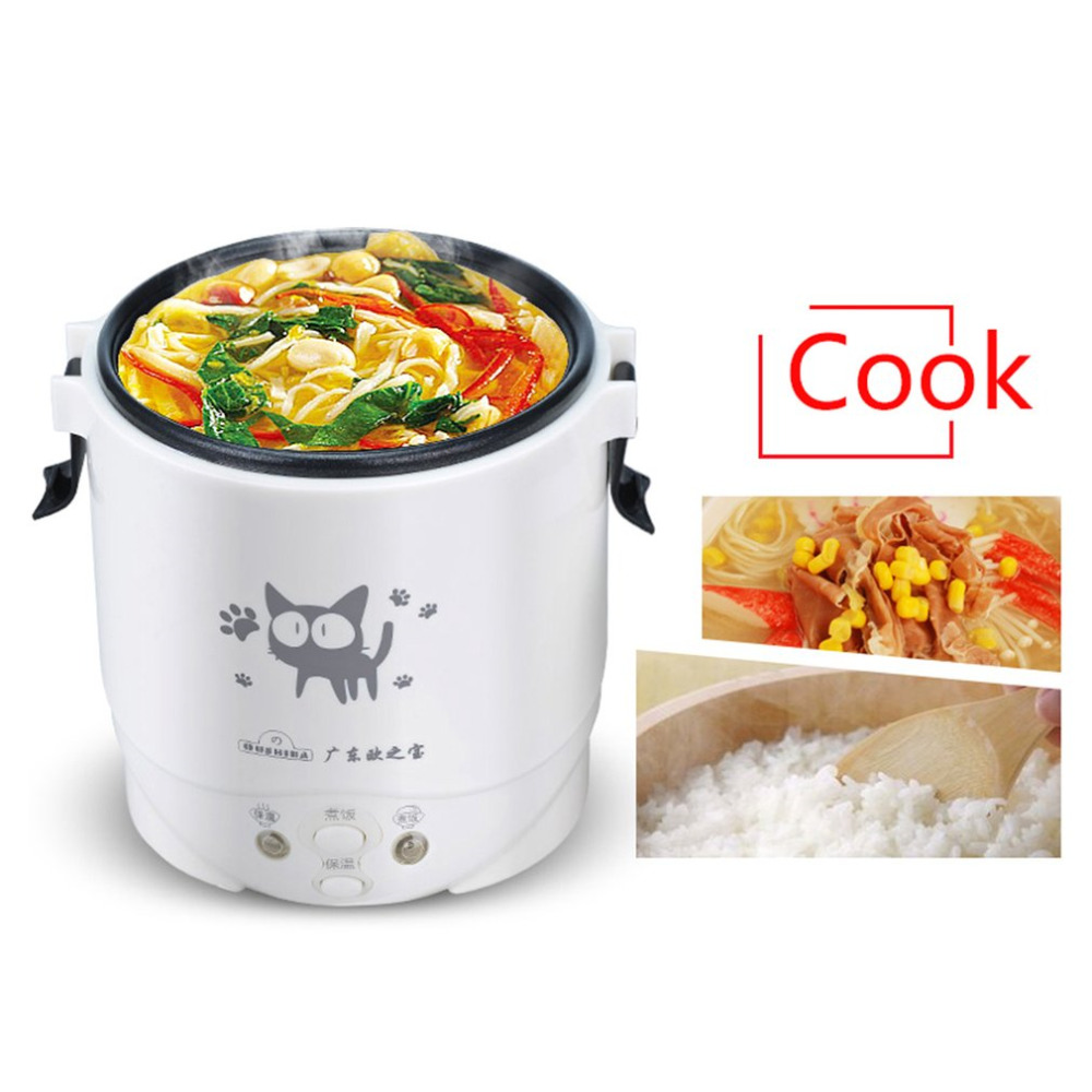 1L Mini Rice Cooker Electric Rice Cooker Auto Rice Cooker With Cute Cat Pattern For Rice Soup Porridge Steamed Egg EU/US plug<br>