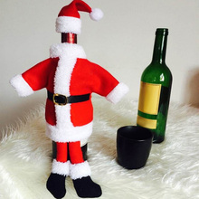 2016 Christmas Wine Bottle Cover Santa Claus Shape High-Grade Velvet Wine Bottle Bag for Christmas Table Chair Decoration Gift