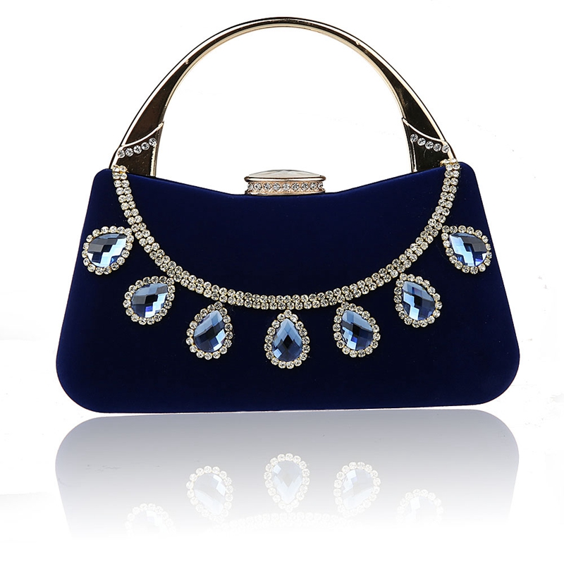 2016 Top Selling Blue Chinese Womens Wedding Evening Bag Clutch handbag Mujer Bolso Stylish Bride Party Purse Makeup Bag F988-1A<br>
