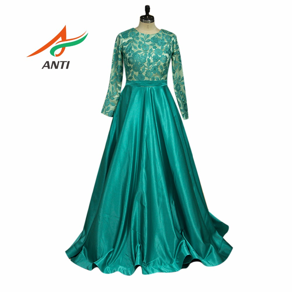 ANTI Women Plus Size Grass green Evening Dress Elegant O-Neck Lace Full Formal Gowns Celebrity Dress A-Line Wedding Party Abide (China)