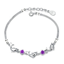 2016 Chic Design Silver Plated CZ Diamond Bracelets For women Natural Crystal Amethyst Dolphin Chains Bracelets&Bangles