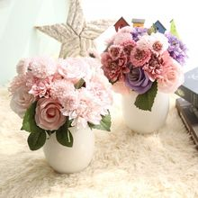 Pink Silk Flower Wedding Bouquet Roses Dahlias Artificial Flowers Vivid Fake Leaf Bridal Bouquets Home Bedroom Garden Decoration