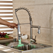 Brushed Nickel LED Light Kitchen Bar Hot Cold Water Faucet Deck Mount Pull Down Sprayer Kitchen Mixer Taps