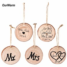 Ourwarm 50pcs 5-6cm Natural Wood Slices for Birthday Party Diy Decorations Kids Table Number Cards Wedding Decoration Gift Tags(China)