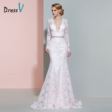 Dressv ivory V-neck long sleeves wedding dress beading mermaid button floor length lace wedding dress elegant bridal dresses