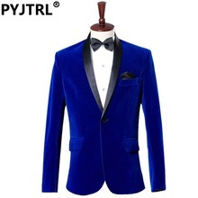PYJTRL Mens Autumn Winter Classic Shawl Collar Royal Blue Velvet Wedding Groom Suit Jacket Leisure Blazer Masculino Slim Fit(China)