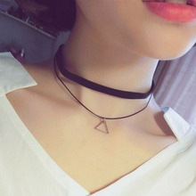Fashion Faux Leather Choker Simple Black Velvet Rope Silver Triangle False Collar Necklace for women collier Bijoux(China)