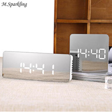 M.Sparkling Mirror Desk Clock Muti Function Digital Alarm Clocks Led Make Up Mirror Watches Home Decortaions Christmas Gifts(China)
