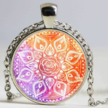 Retro Style Long Chain Om Mandala Necklace Yoga Jewelry Mandala Flower of Life Necklace for Women 2016 Newest